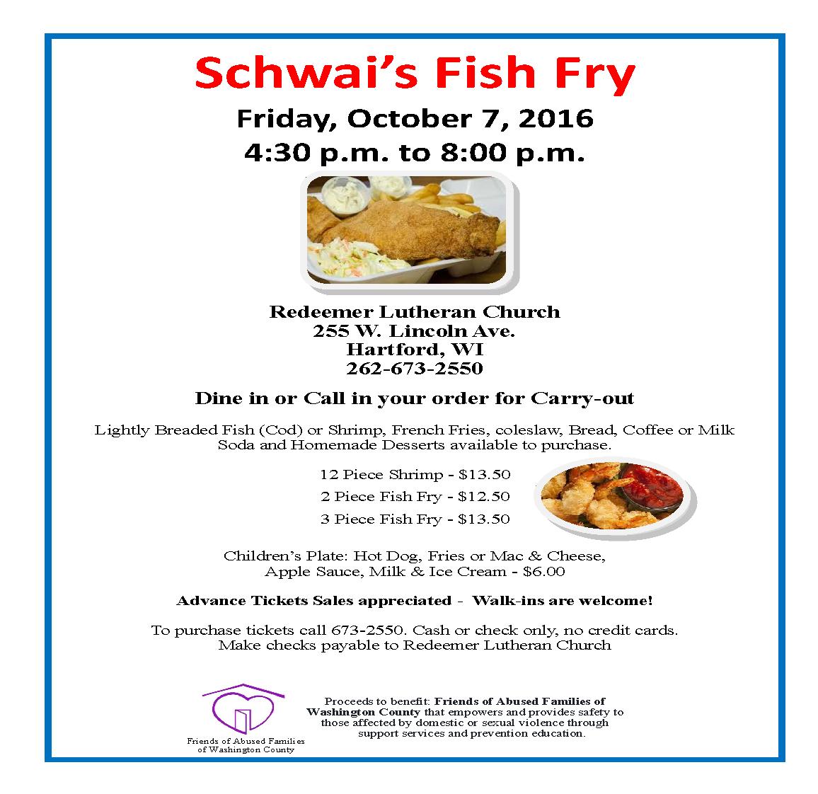 2016 october fish fry flyer redeemer lutheran church