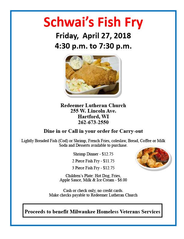 2018 april fish fry flyer redeemer lutheran church